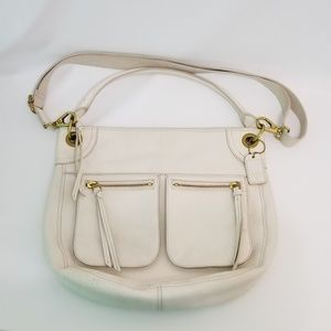 Large Fossil White Leather Zipper Bag